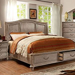 Belgrade Transitional Style Rustic Weathered Oak Finish Queen Size Bed Frame  Set