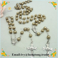 8mm gold glass imitation pearl beads religious rosary necklace, beads catholic rosary chain, rosary jewelry