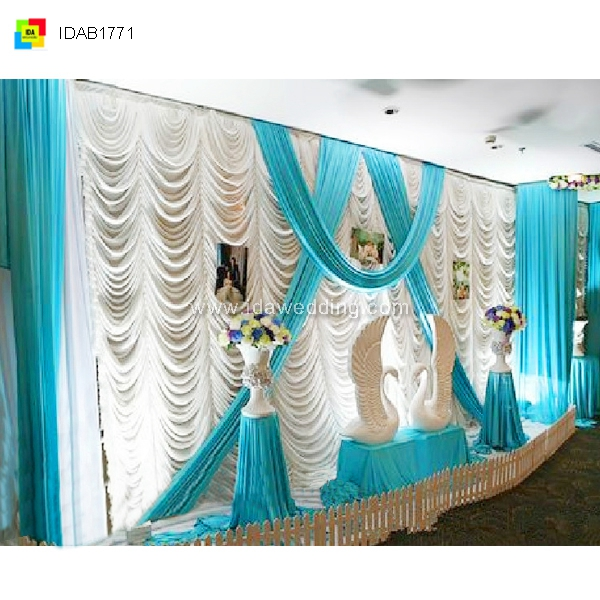 IDA 2016 new design blue wedding backdrop wedding drape curtains for banquet pary ceremony decoration