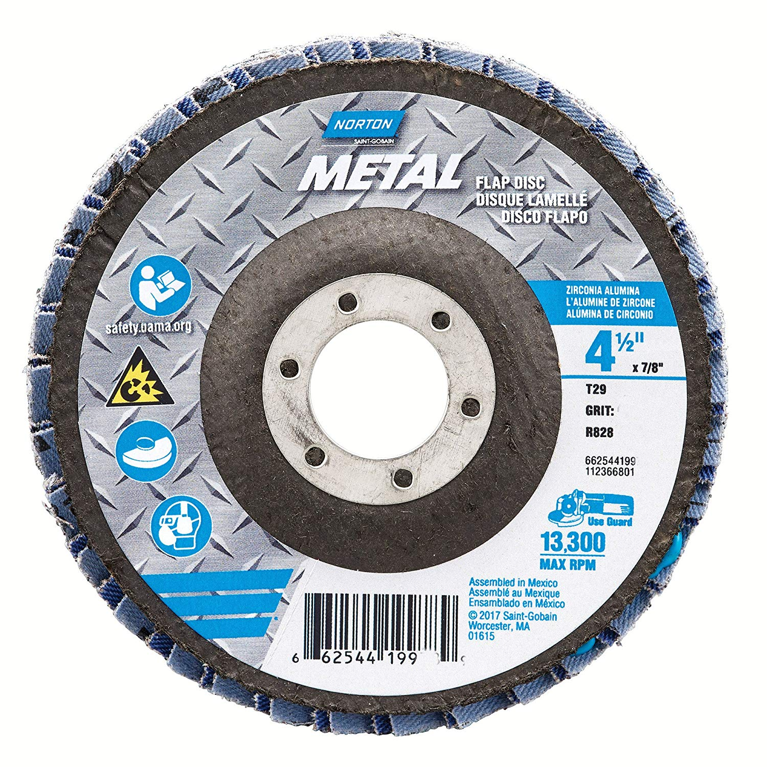 Merit Abrasives 481-66254419963 Type 29 Metal Zirconia Alumina Powerflex Flap Discs, 4.5 in., 36 Grit, 0.88 Arbor