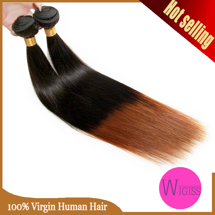 Hot Sale Ombre Human Hair Brazilian Virgin Silky Straight Hair Remy Ombre Hair Weaves Two Tone Color 1B/30# Wigiss H6057AZ