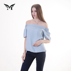 New design tencel solid short sleeve high fashion womens off shoulder blouse sample