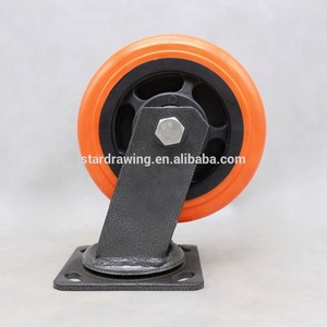 SS 150 mm orange caster wheel 6 inch pu caster wheel
