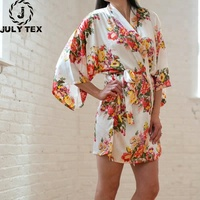 Popular wedding party kimono women floral satin spa/bride/bridesmaid robes