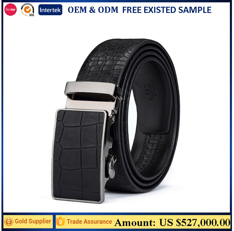 Updated Design Croc Pattern Genuine Leather Ratchet Belts Automatic Buckle