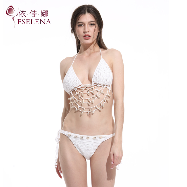 Women's <strong>sexy</strong> crochet shell decorated bikini beach wear