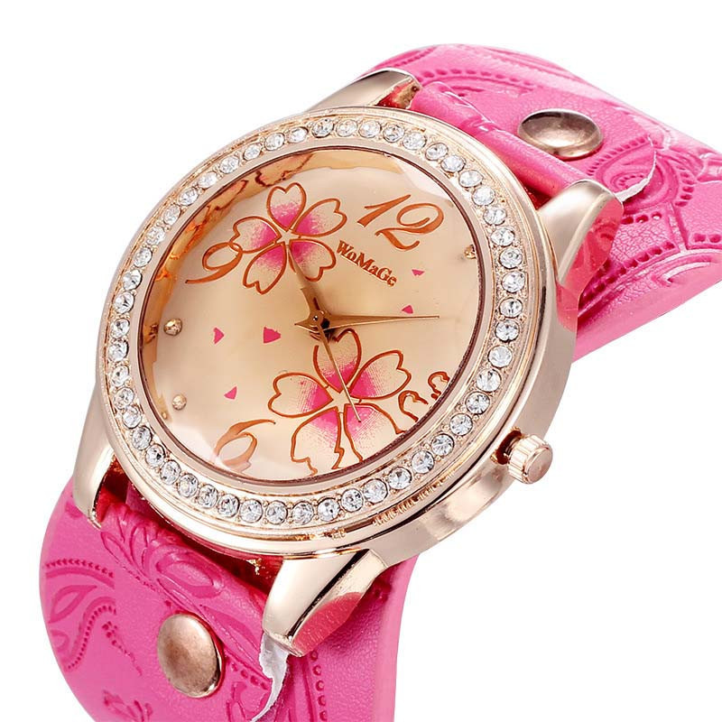 Jimshop 2015 New Watches women fashion luxury Rhinestone Flowers Sport PU Leather Bracelet Wristwatch relogio feminino Jimshop