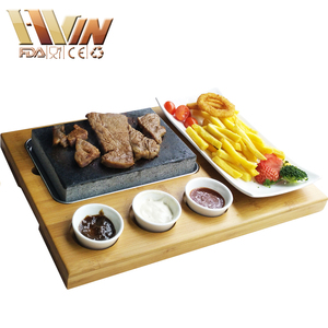 Restaurant Handy Lava Rock Grill Stone Set, Hot Cooking Steak Stone, Steak Stone And Plate Set