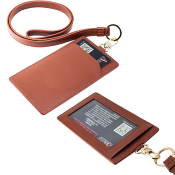 New design hot selling card holder with necklace id card holder leather wallet card holder