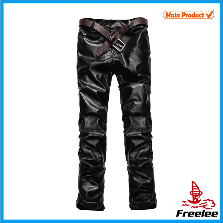 Mens Fashion Slim Fit Motorcycle Leather pants,Leather Trousers