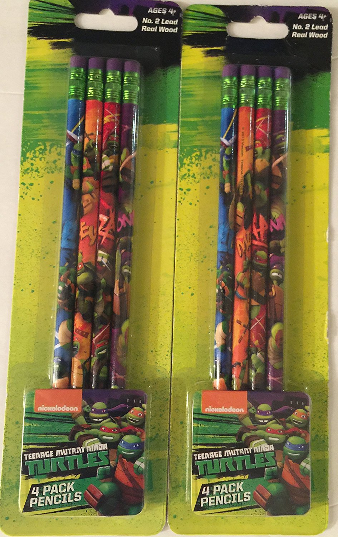 Teenage Mutant Ninja Turtles (2) 4 Pack Colorful Wooden Pencils TMNT Nickelodeon (total of 8 pencils) (Donatello, Leonardo, Michelangelo,and Raphael)