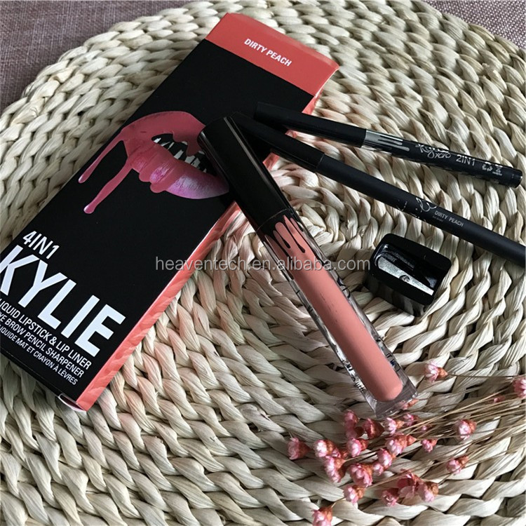 Wholesale kylie xoxo 4 in1 box lip gloss with lipliner and eyeliner, pencil sharpener