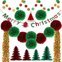 UMISS PAPIER Hänge Garland Banner Sring Party PomPom Blumen Baum Set, New Home Weihnachten Dekorationen