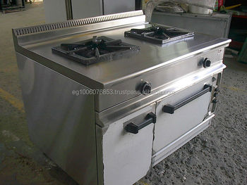2 Large Burners With Oven & Storage Cabinet Gas Range Hotel Kitchen ...
