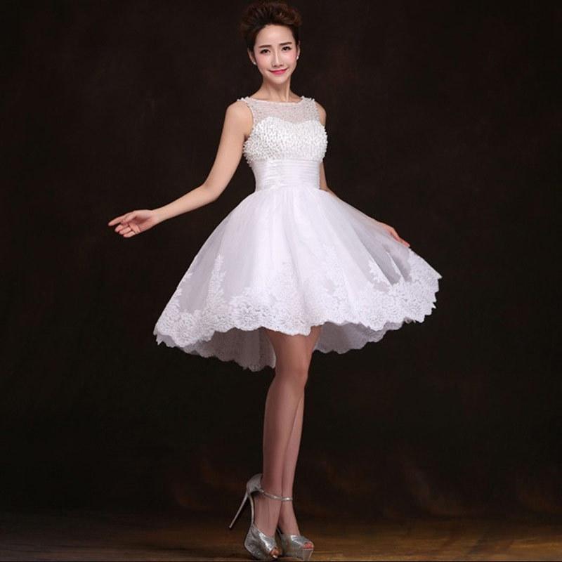 White Wedding Dress Mini: New 2016 White Short Wedding Dresses The Bride Sexy Lace