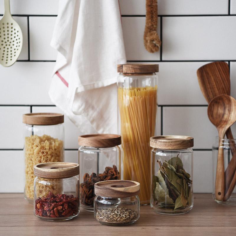 Food grade borosilicate glass jar airtight wood lid glass storage jars