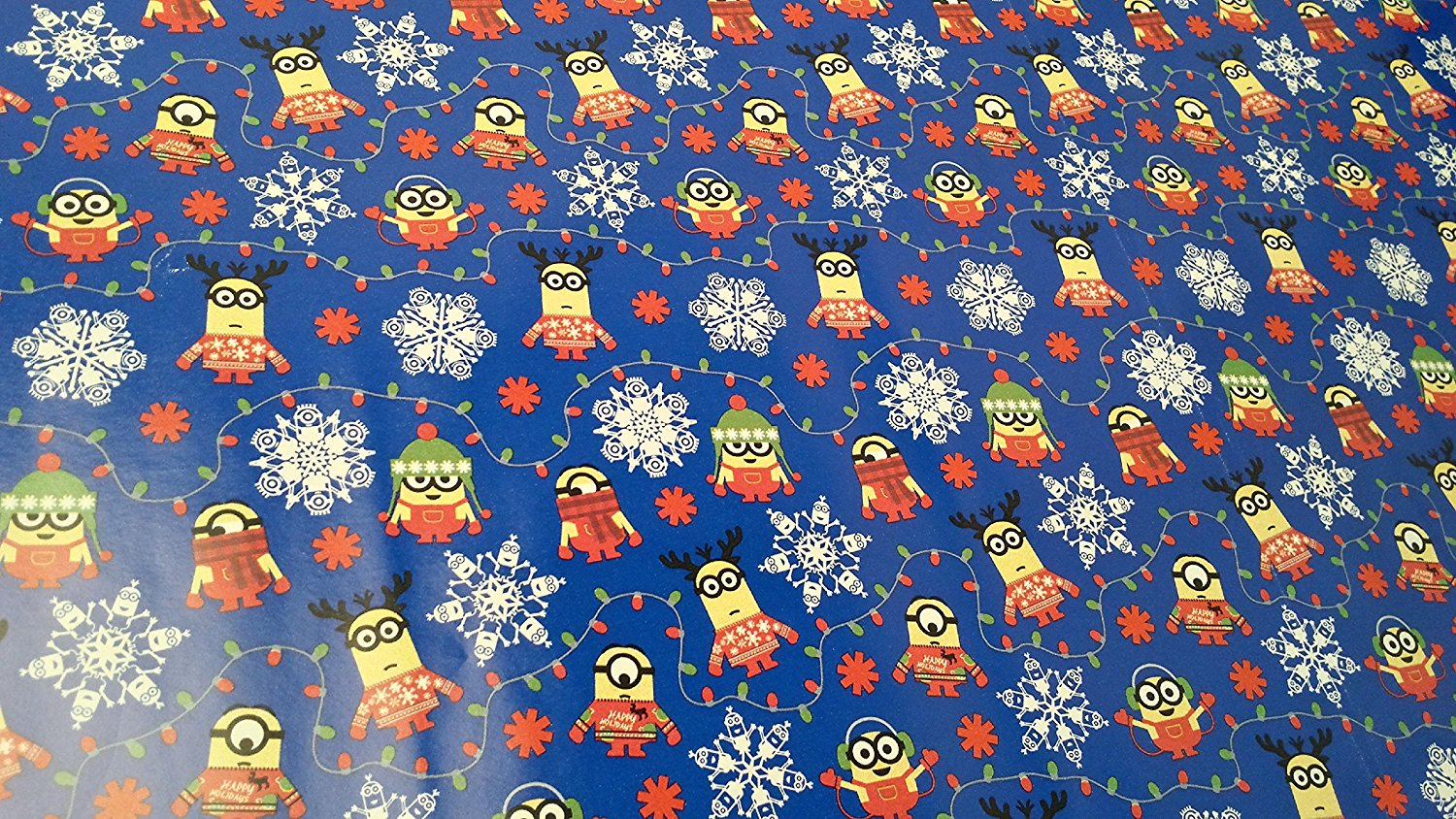 get quotations christmas wrapping minion snowflake holiday paper gift greetings 1 roll design festive wrap minion blue - Cheap Christmas Wrapping Paper
