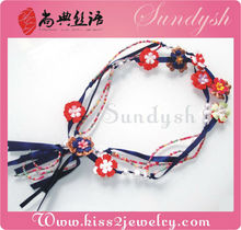 Long Elastic Jewel Beaded Flower Belt For Lady