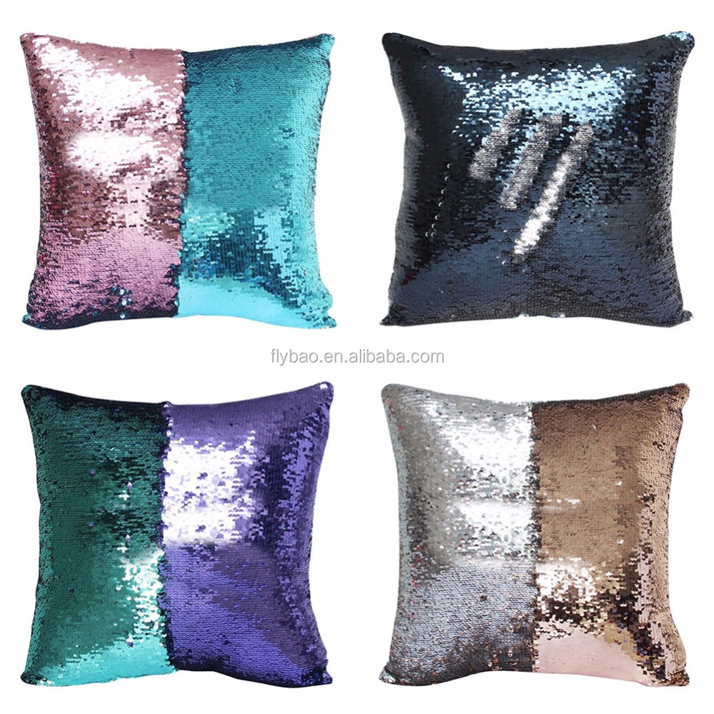bicolor home use fancy two tone customized Eco-friendly fish scale car seat cushion Decorative sequin Pillow for home decor