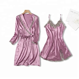 luxury purple open sexy sleepwear babydoll set women sleepwear