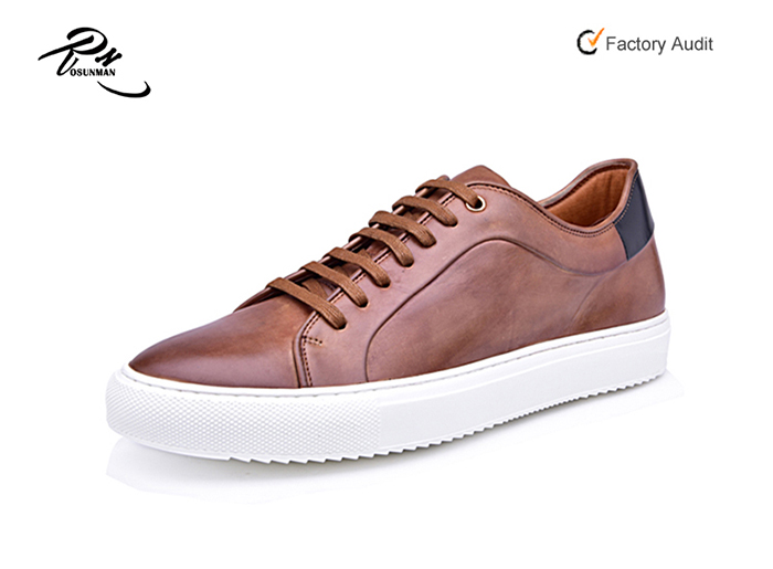 <strong>Men</strong> low cut brown genuine leather sneakers