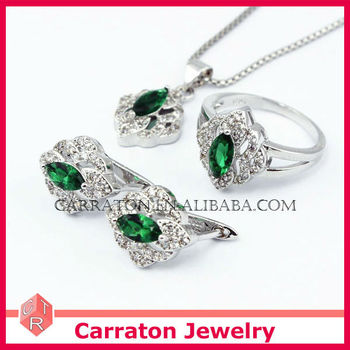925 Sterling Silver Fashion Jewelry Set with Emerald