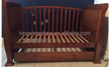 Nz сосны деревянная сани кровать детская кроватка Dropside с ящиком