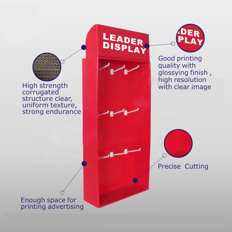 Custom Printing PDQ Carton Displays Cardboard Hanging Hooks Display