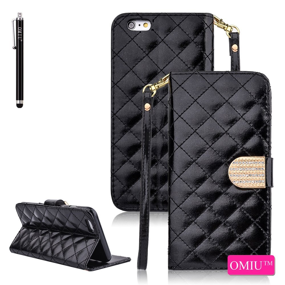 iPhone 6S Case,iPhone 6 Case, OMIU(TM) [Glitter Bling Crystal Glossy Grid Skin] Luxury Bran-new Fashion Premium PU Leather Flip Magnet Detachable Wrist Strap Wallet Slim Stand Case Cover Protector Fit For Apple iPhone 6/6S(4.7)(Black), Sent Stylus