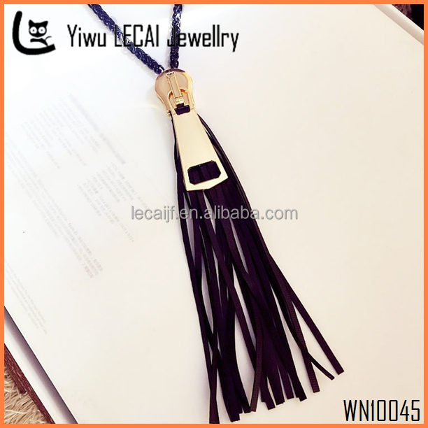 High Quality Braided Leather Tassel Necklace, Black Leather Zipper Charm Nekclace ,Gold / Gun Black Pendant Necklace New Arrival