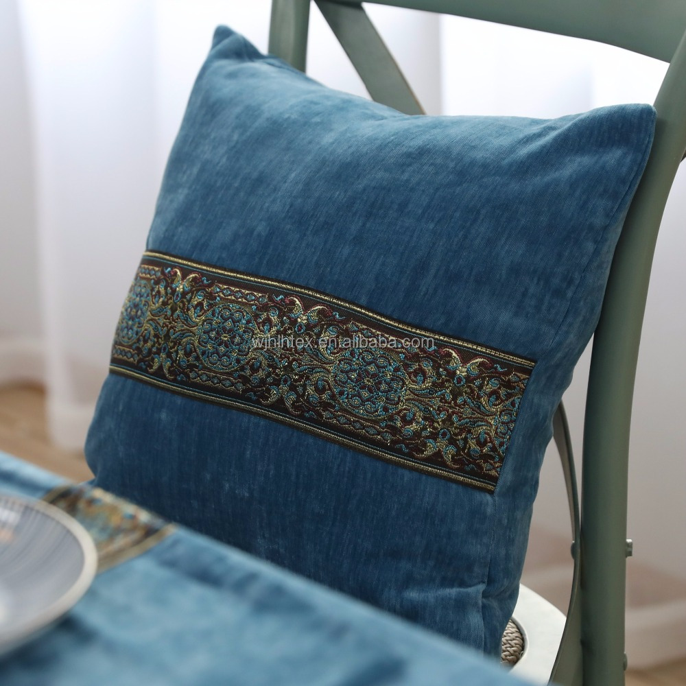 latest design decorative blank velvet embroidery cushion cover