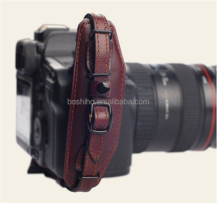 Leather Hand Grip Wrist Strap + quick release plate for DSLR Canon Nikon