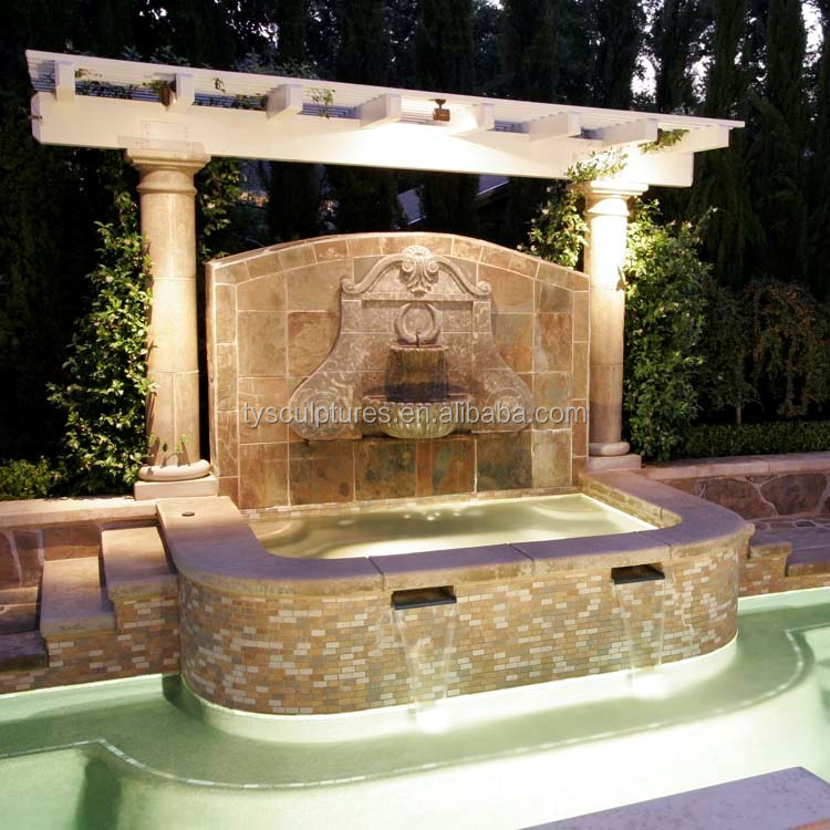 Beautiful modern europe garden stone outdoor wall fountain yard art fountain