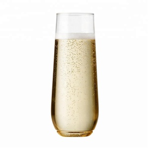 9oz Plastic Cups - Recyclable Champagne Plastic Cup - stemless, shatterproof and BPA-free flute glasses