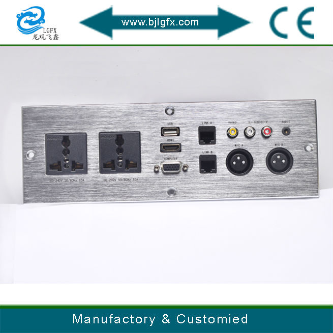 HDMI VGA AUDIO power plug with network multimedia wall socket face plate