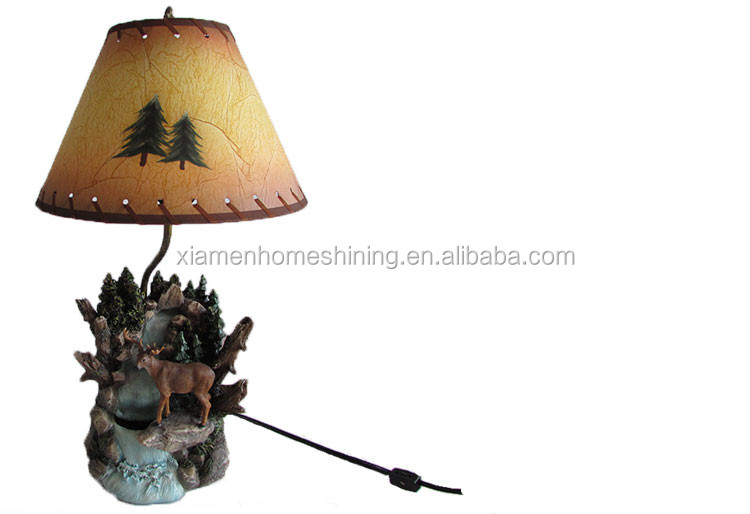 resin craft led table lamp in the shape of deer