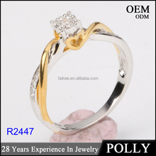 Latest plated gold rings design for woman fashion wedding ring with cubic zirconia or diamond ring
