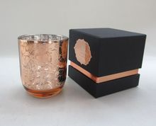 Aromatic Soy Candle In Rose Gold Electroplating Glass Cup With Floral Design Laser Cut Pattern With Black Box Candle