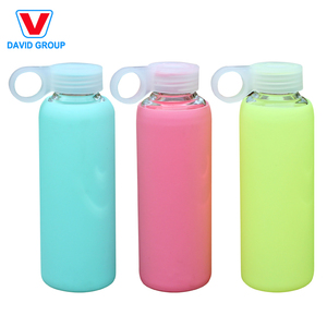 New Style Sport Portable Unbreakable Borosilicate Glass Drinking Bottle with Silicone Cover