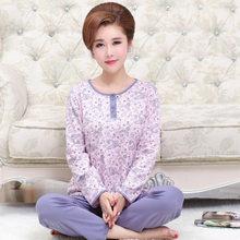 Женский пижамный комплект из двух предметов, пижамный комплект из хлопка с длинным рукавом для дома, штаны и топы для женщин среднего возрас...(Китай)