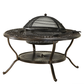Outdoor Garden 4 Person Cast Aluminum Patio Deep Seating BBQ Fire Pit Table  Chair Set
