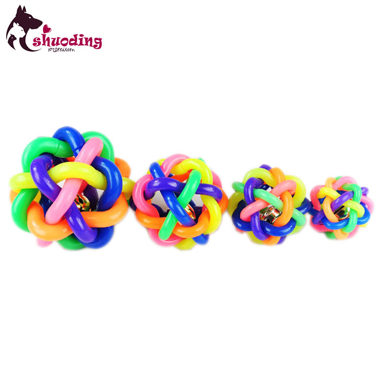 Safety Grinding Teeth Dog Soft Rubber Toy Seven Colors Sound Bell Ball