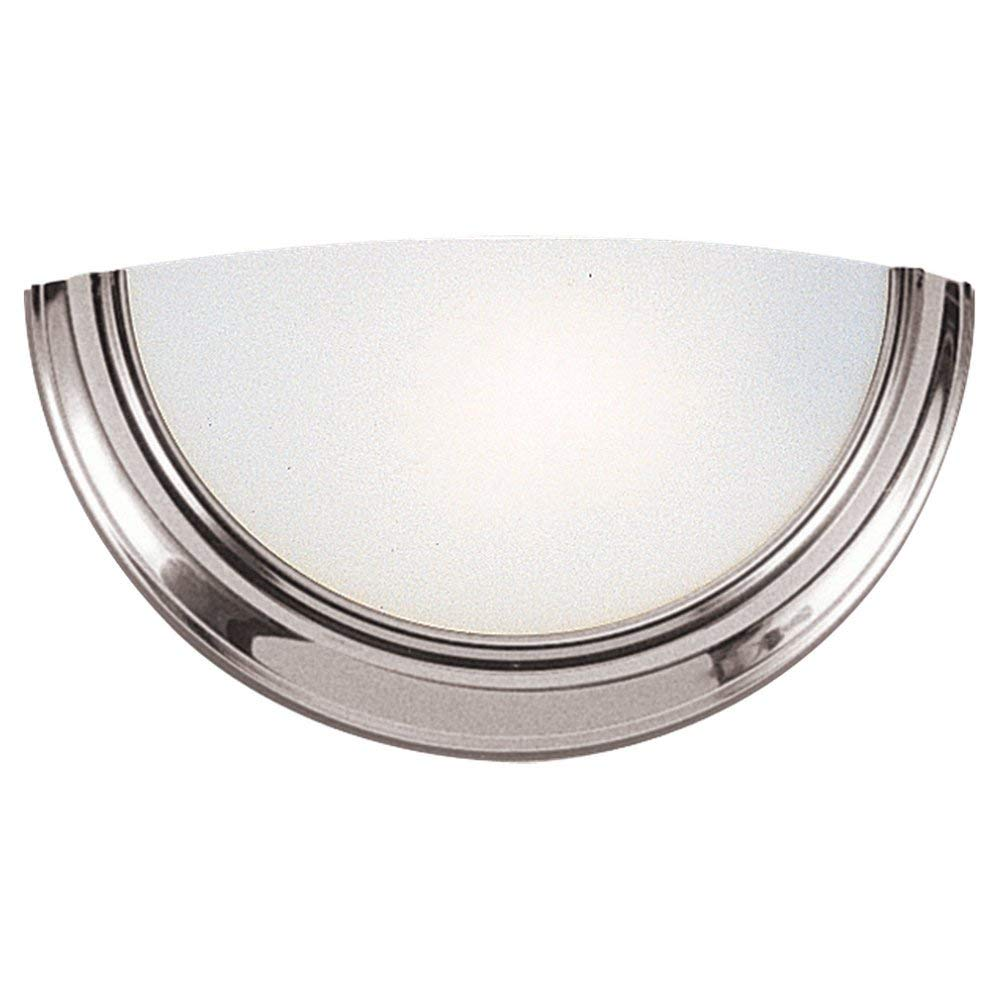Sea Gull Lighting 4936BLE-962 Bathroom Sconce with Smooth WhiteGlass Shades, Brushed Nickel Finish