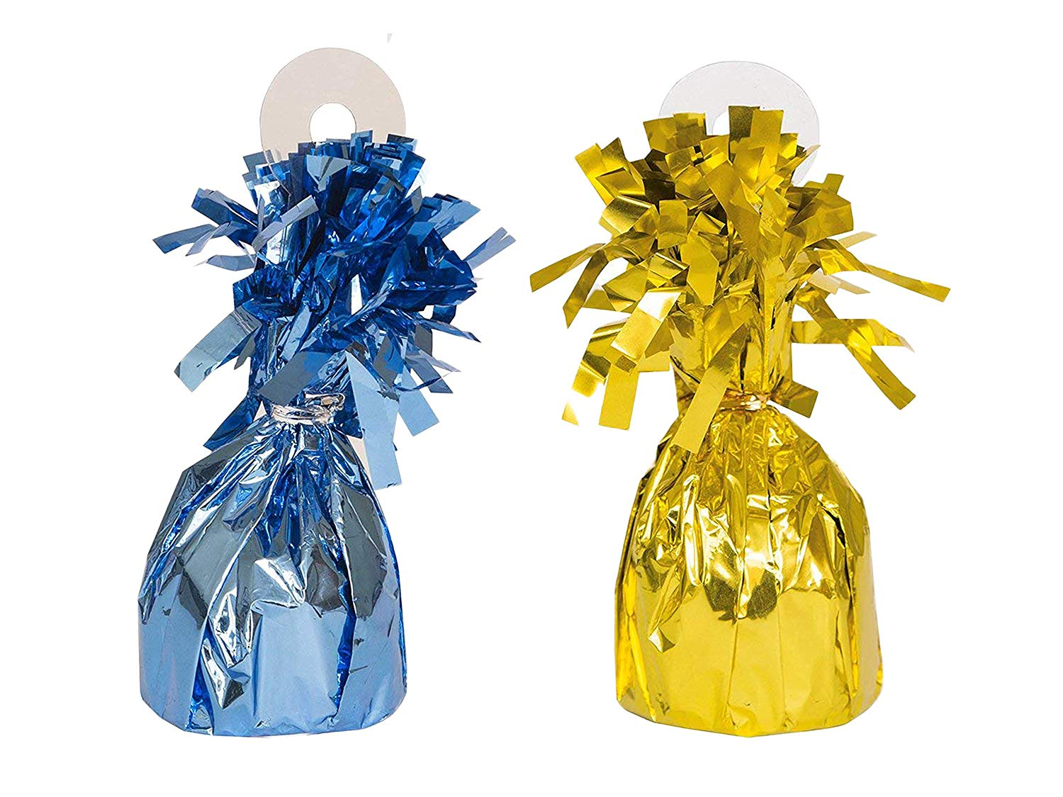 UNIQUE - Foil Light Blue Balloon Weight and Foil Gold Balloon Weight bundled by Maven Gifts