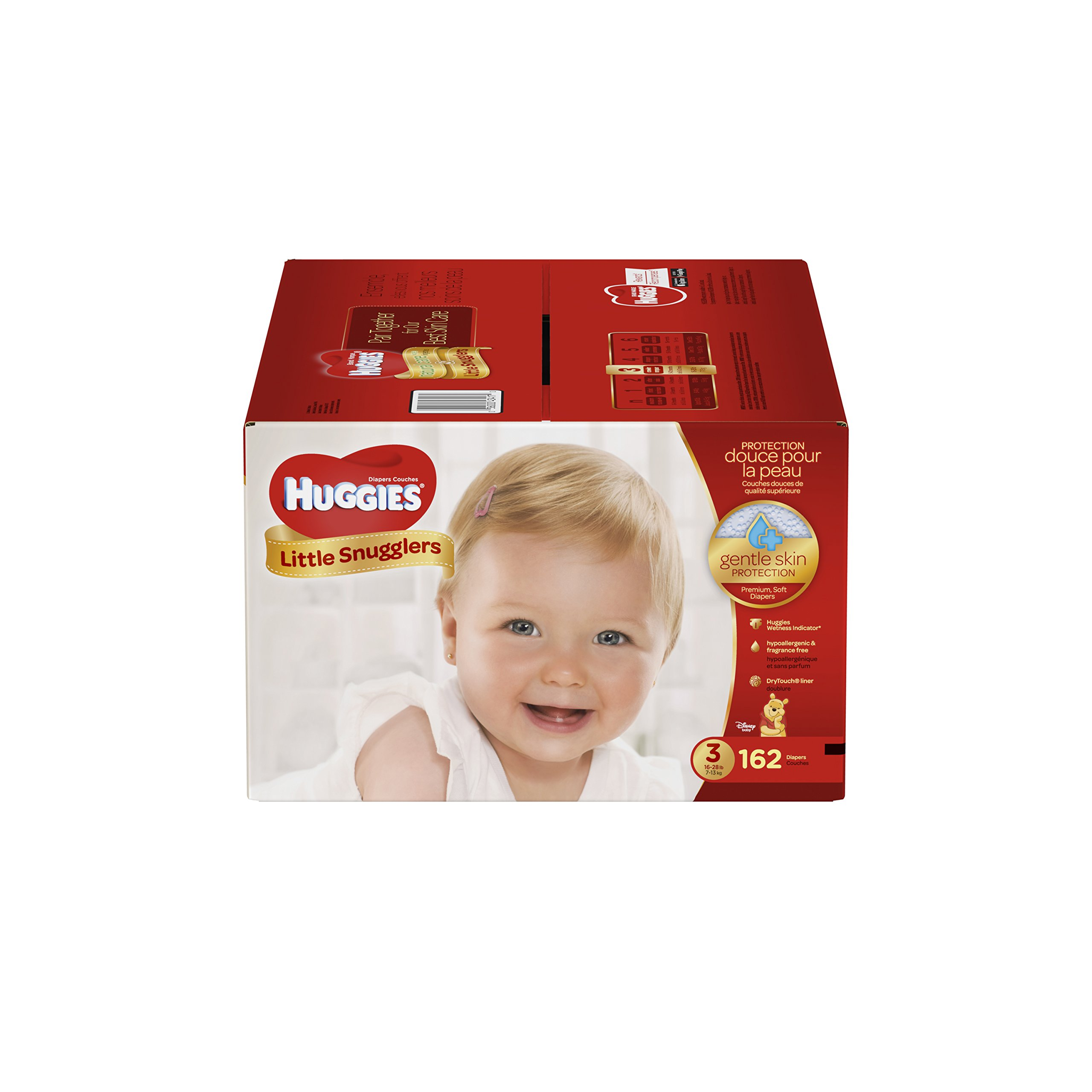 Get Quotations · Huggies Little Snugglers Baby Diapers, Size 3, 162 Count,  ECONOMY PLUS (Packaging
