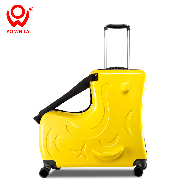 Hard Shell Children Toy 4 Wheel Suitcase,Kids Ride On Suitcase