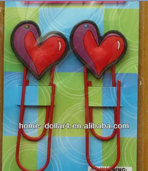2PC Big coloeful flower and Heart shape bookmarks /Heart shape paper clips