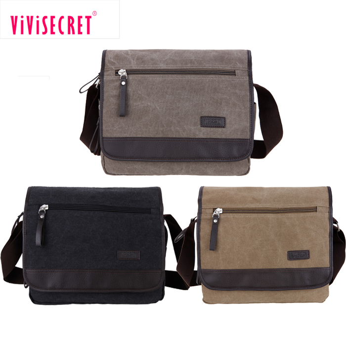 Fashion man college student small single side bags for teens boys canvas cross body shoulder bags