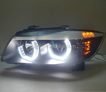 hot sale quality assembly headlight lamp LED angel eyes headlight for BMW E90 05-12