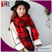 latest fashion red and black big plaid double sided pashmina shawl for winter
